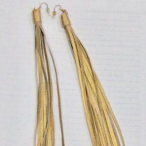 """Jewelry - Gold leather tassels 8""""  earrings new"""